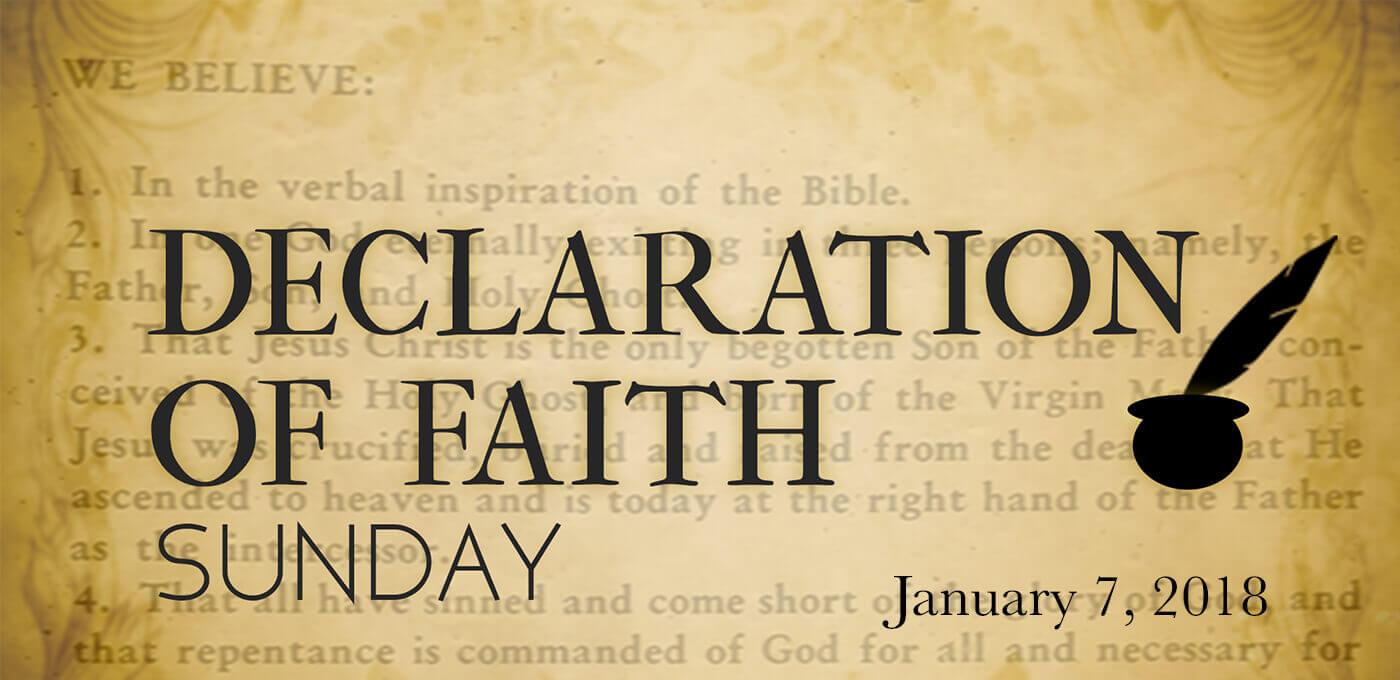 Declaration Of Faith Sunday 2018